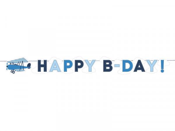 Happy Birthday Banner Wimpelkette Papiergirlande Geburtstag Flugzeuge Wolken