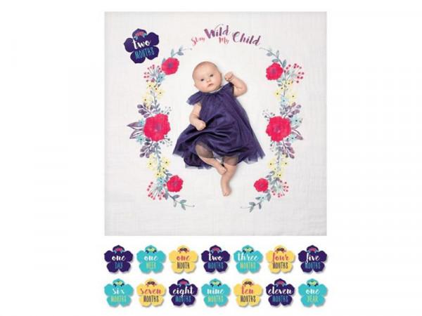 Lulujo Fotokarten für Babys Babyfotokarten mit Mulltuch Wilde Blumen