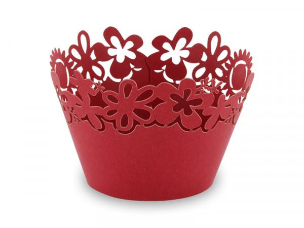 Elfenstall Muffin Zierumrandung 12 Stück Sonnenblumen Rot