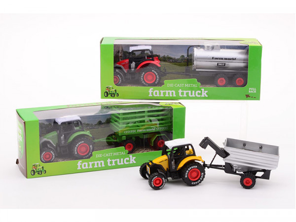 Farm Truck Kinder Traktor aus Metall mit Anhänger