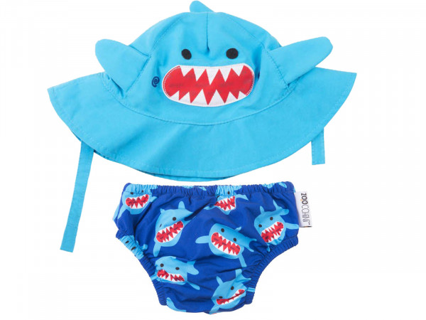 Zoocchini Baby Set mit Badewindel und Sonnenhut Hai