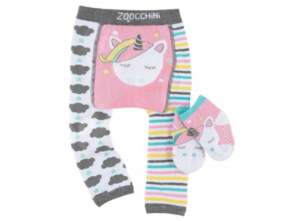 Zoocchini Babyset Leggins und Rutschsocken Strümpfe Einhorn 6-12 Monate