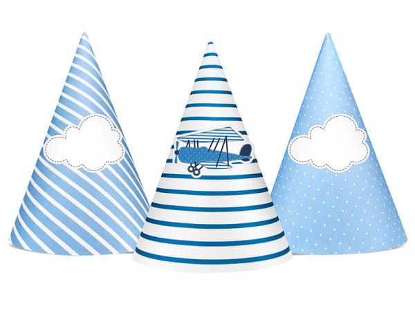 Party-Hüte Partyhut Kindergeburtstag Flugzeug Wolken 6 Stück