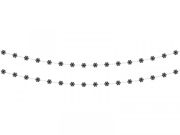 Girlande Dekoration Schneeflocken Winter, 2 Stück, schwarz, ca. 180 cm