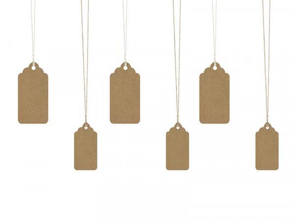 Geschenkeanhänger Anhänger natur mit Kordeln in 2 Größen im Set, 6 Stück