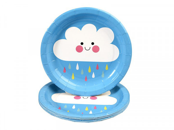 Rex International Kinder Pappteller mit Motiv Happy Cloud, 8 Stück