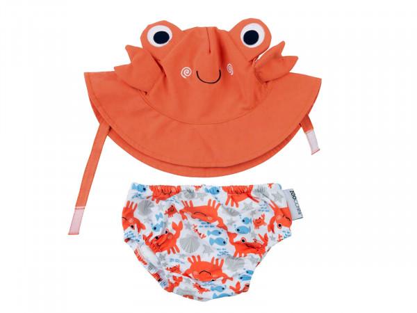 Zoocchini Baby Set mit Badewindel und Sonnenhut Motiv Krabbe