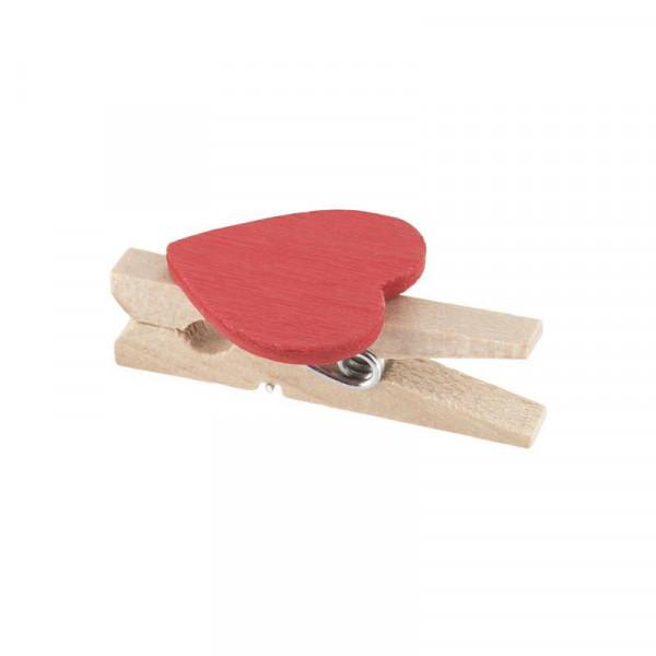 Elfenstall 50 Mini Holz Wäscheklammern / Holzklammern Herz rot