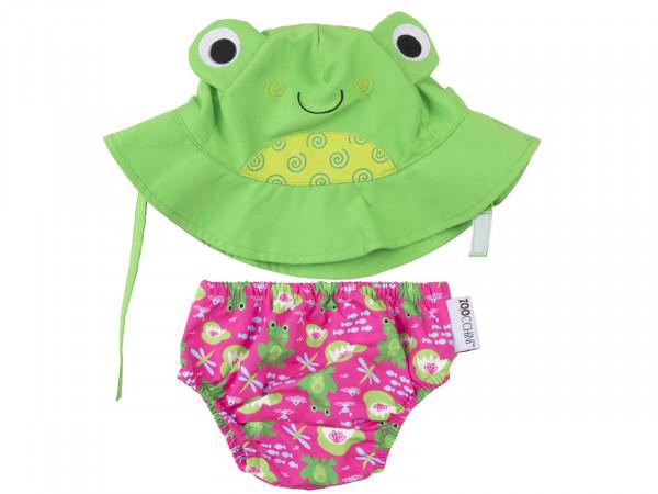 Zoocchini Baby Set mit Badewindel und Sonnenhut Frosch