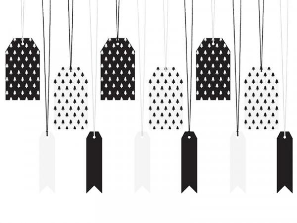 Geschenkeanhänger Anhänger Tannen schwarz weiß mit Kordeln 2er Set