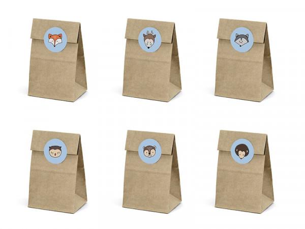 Geschenktaschen Geschenkbeutel für Mitgebsel Woodland Waldtiere, 6 Stück