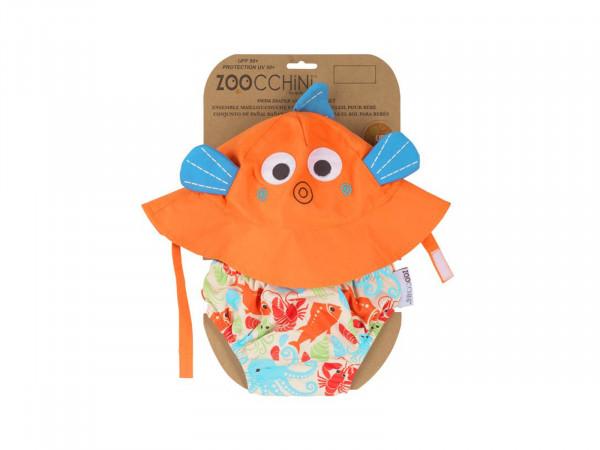 Zoocchini Baby Set mit Badewindel und Sonnenhut Fisch