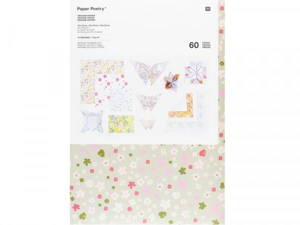 Origami Papier Set Blumen Muster Bouguet Sauvage, 60 Blatt in 3 Größen