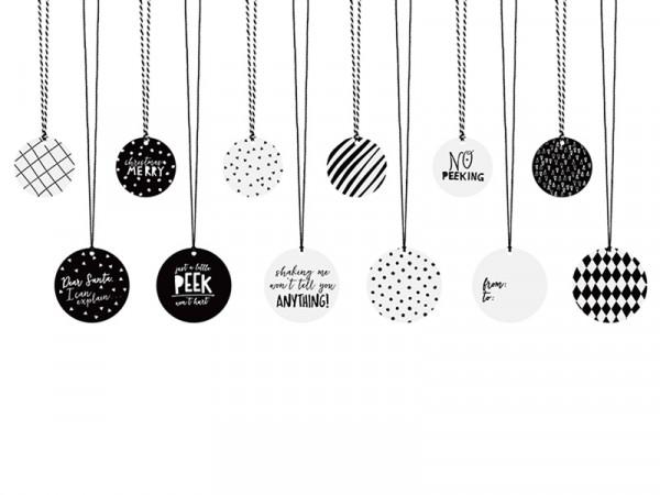 Geschenkeanhänger Weihnachten schwarz weiss mit Kordeln 12 Stück