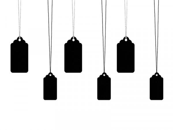 Geschenkeanhänger Anhänger schwarz mit Kordeln in 2 Größen im Set, 6 Stück