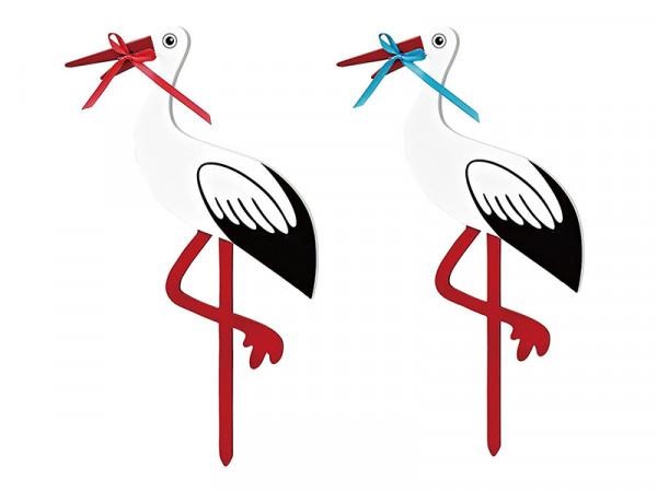 Magni Holz-Klapperstorch Steck-Storch 80 cm, blaues und rotes Band