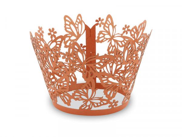 Elfenstall Muffin Zierumrandung 12 Stück Schmetterling Bronze