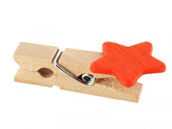 Elfenstall 50 Kleine Mini Holz Wäscheklammern / Holzklammer Stern Orange