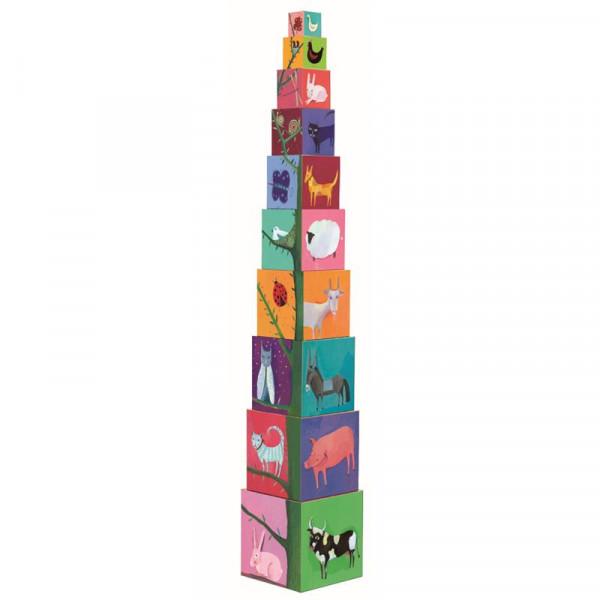Djeco Stapelspielzeug mit Formen und Tieren zum Sortieren 10 teilig