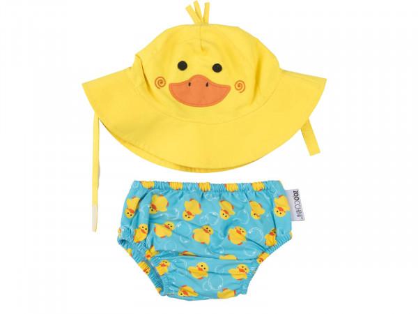 Zoocchini Baby Set mit Badewindel und Sonnenhut Ente
