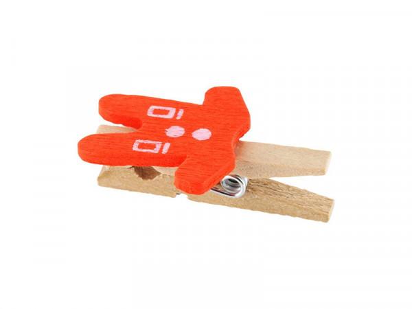 Elfenstall Kleine Mini Holz Wäscheklammern / Holzklammer Hose Orange