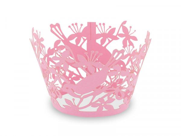 Elfenstall Muffin Zierumrandung 12 Stück Vögel Pink