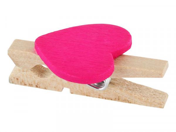 Elfenstall 50 Mini Holz Wäscheklammern / Holzklammern Herz pink