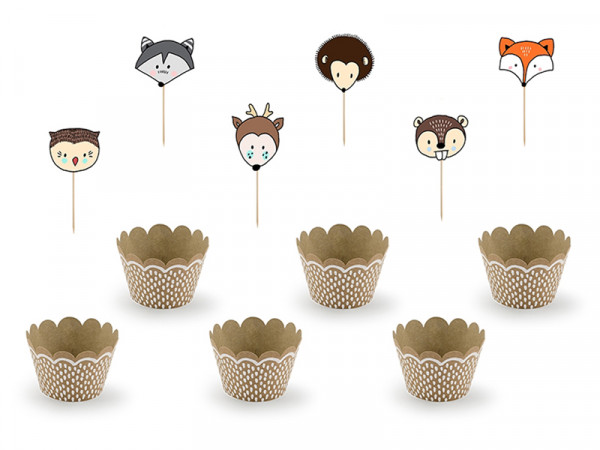 Cupcake Muffin Set Kit Wrappers and Toppers Woodland Waldtiere 6 Stück