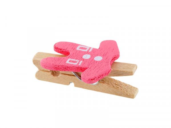 Elfenstall Kleine Mini Holz Wäscheklammern / Holzklammer Hose Rosa